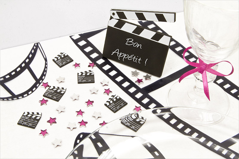 Mariage th me cin ma decoration mariage for Centre de table cinema